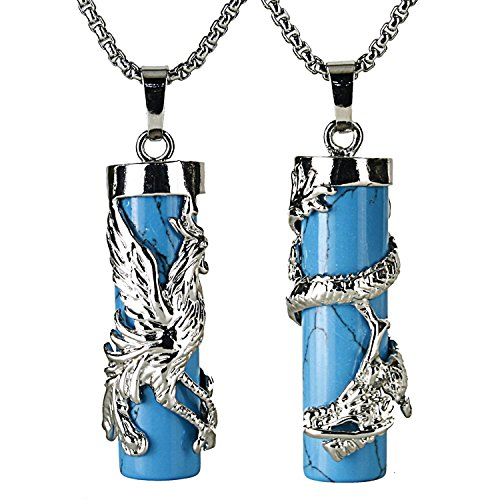 BEADNOVA Couples Necklace 2pcs Dragon Phoenix Wrapped Column Synthetic Blue Turquoise Gemstone Pendant Necklaces for (Goddess Turquoise Necklace)