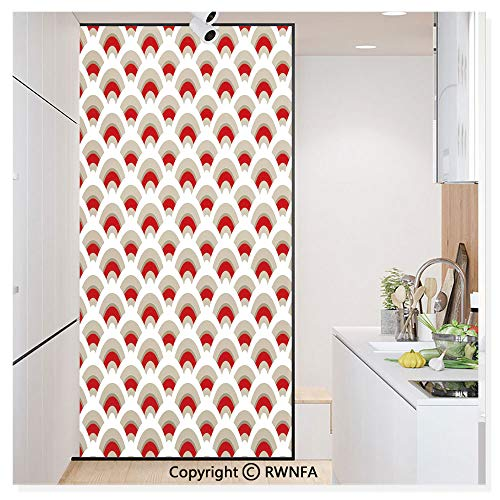 RWN Film Removable Static Decorative Privacy Window Films Oriental Scallop Pattern Inspired by Traditional Moroccan Arabesque Art Design for Glass (17.7In. by 78.7In),Red Tan White