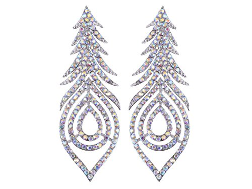 Alilang Aurora Borealis Pave Crystal Rhinestone Peacock Feather Dangle Drop Silvery Tone Earrings
