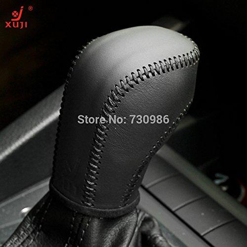 Black Genuine Leather Gear Shift Knob Cover for 2012-2016 Volkswagen VW Golf / 2011 2012 2013 2014 2015 2016 Volkswagen VW Jetta / 2012-2016 Volkswagen VW Passat / 2011-2016 Volkswagen VW Tiguan / 2011-2016 Touareg / 2012-2016 Volkswagen VW Beetle /