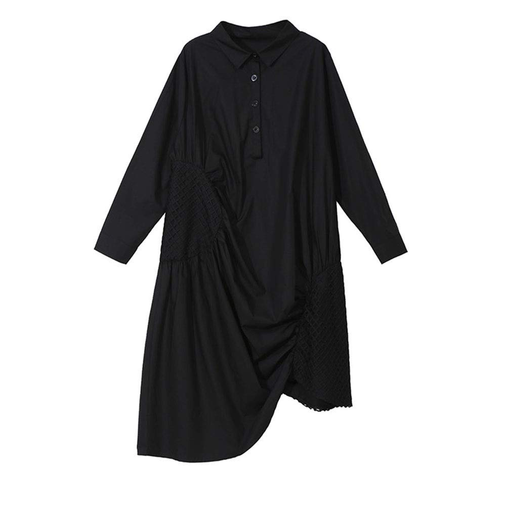 ドレス、女性のカクテルフォーマルスイング スカートの春と夏の女性の服のドレスグリッド不規則な白黒 スリーブスリムビジネスペンシル (色 : ブラック)  ブラック B07R6NS85K