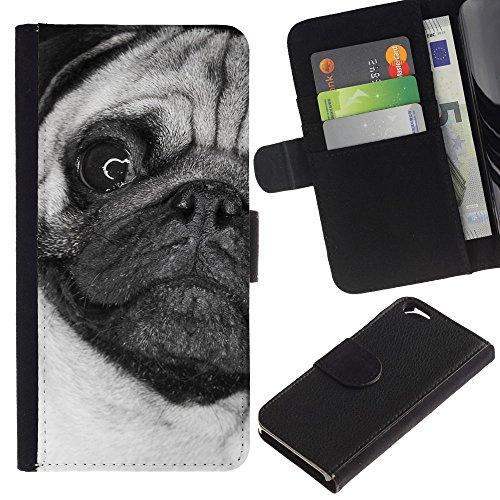 LASTONE PHONE CASE / Luxe Cuir Portefeuille Housse Fente pour Carte Coque Flip Étui de Protection pour Apple Iphone 6 4.7 / Pug Weird Black White Face Close Dog