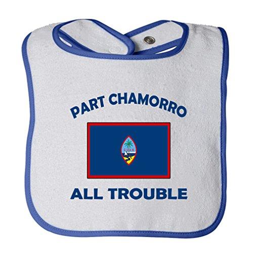 (Cute Rascals Part Chamorro Guam All Trouble Tot Contrast Trim Terry Bib White/Royal Blue)