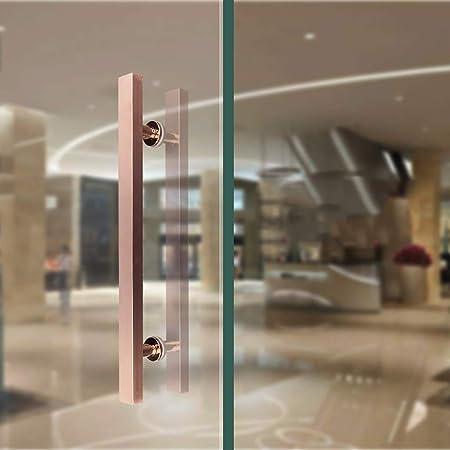 LHF Pasamanos de escalera universal para interiores y exteriores, manija de puerta de vidrio de oficina de tubo cuadrado de acero inoxidable cepillado/manija de puerta de madera/manija de puerta: Amazon.es: Bricolaje y