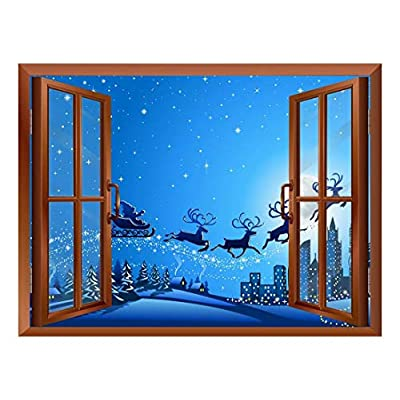 Cartoon Santa Claus and Reindeers Flying with Stars at Night Peel and Stick Removable Window View Wall Sticker Wall Mural, Crafted to Perfection, Pretty Picture