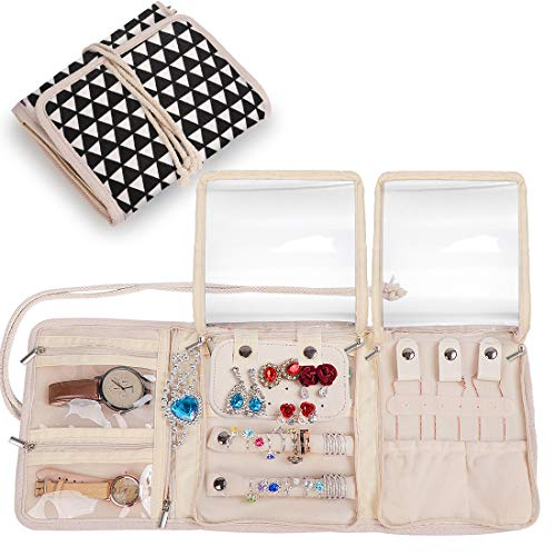 Travel Jewelry Roll,Jewelry Storage Bag Organizer for Earrings,Necklaces,Bracelets,Rings,Brooches and More,Compact and Foldable,Tied Up with Rope Black & White