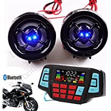 UTV ATV Bluetooth Amplifier Sound System Hand-free Speakers FM USB Audio System Stereo 2.5 Inch Speakers 12V Motorcycle Waterproof Audio FM Radio Stereo Speaker For iPhone/iPod/MP3 Skull …