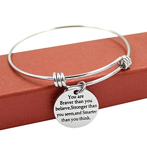You're Braver Stronger Smarter than you think Inspirational Bracelet Expandable Bangle Gift for Women Men