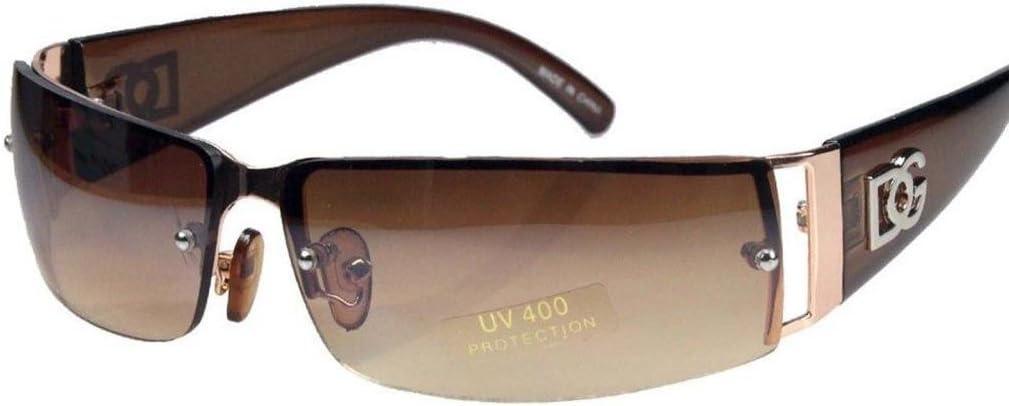 NEW DG MENS WOMENS RECTANGULAR RIMLESS DESIGNER SUNGLASSES SHADES EYEWEAR COLOR-Gold/Brown lens