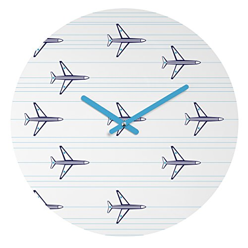 Deny Designs Vy La,  Airplanes and Stripes , Round Clock, Round, 12'' by Deny Designs