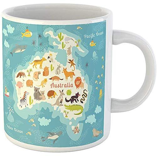 Funny Personalized Coffee Mug Animals World Map Australia Australian Mammals Cartoon Preschool Baby 11 Oz Ceramic Coffee Mug Tea Cup Souvenir - Map Design Australian