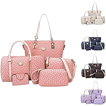 Image Unavailable. Image not available for. Color  Wyhui Fashion Women  Shoulder Bag PU Leather Tote Handbag Crossbody Bag 6-pcs sets Light 0aef5dc116b12