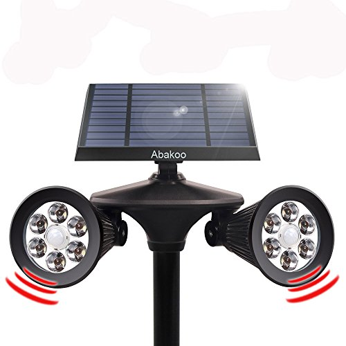 Abakoo Solar 2-in-1 Double Spotlight, Upgraded Motion Sensor Solar Lights 12 LED Dual Head Waterproof 360-Degree Rotatable Solar Powered Lights for Patio Porch Deck Yard Garden Driveway Outsides Wall Review