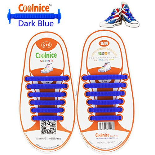 [Coolnice No Tie Shoelaces for Kids funny 12pcs - Environmentally safe silicone - Lazy Shoestrings - Color of Dark] (Eggshell Costume For Adults)
