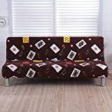 RUGAI-UE Sofa Slipcover The folding sofa cover whole cover three armless sofa bed cover simple modern skid summer living room,160 to 195 length range available,Four seasons Dezhou Poker