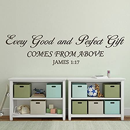 Every Good And Perfect Gift Vinyl Wall Decal Baby Nursery Wall Quote Christian  Scripture Bible Verse