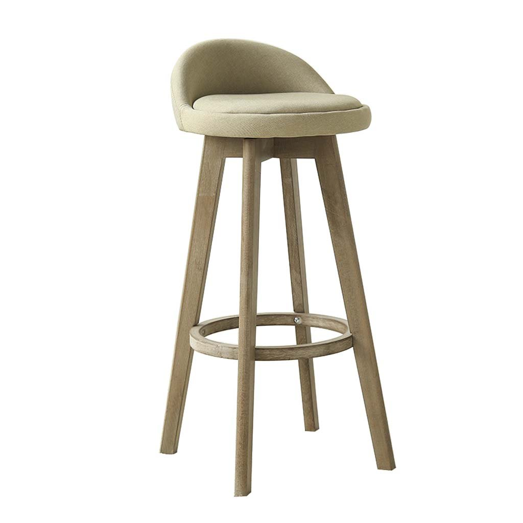 C Bar Stool - Solid Wood Backrest Chair Linen Material High Elastic Sponge Cushion, Restaurant & Bar Cafe, Simple Retro Stool (color   C)