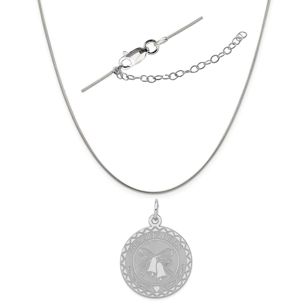 Sterling Silver Anti-Tarnish Treated Wedding Bells Disc Charm on an Adjustable Chain Necklace