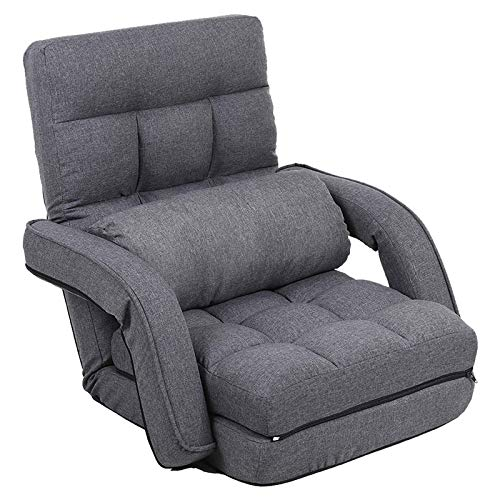 FLOGUOR 42-Position Adjustable Floor Chaise Lounge Sofa, Folding Lazy Sofa with Armrests and a Pillow Padded Gaming Chair for Living Room, Bedroom Factory Price