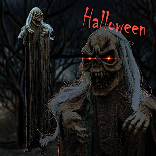 Ghost Animated (Strong Camel Hanging Animated Halloween Prop Reaper Ghost 6.6ft/2M Lifesize Decoration Haunted)