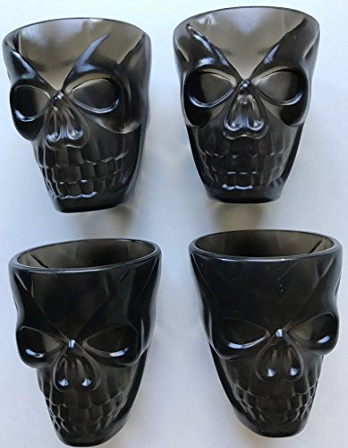 HUGE DISCOUNT! Last ones! 4 Black Plastic Skull Shot Glasses Great for Unique Halloween Shot Glasses and Parties LAST ONES IN STOCK!