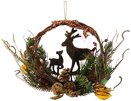 Lighted Country Woodland Deer Wreath