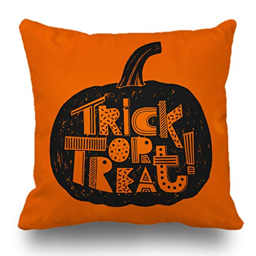 Batmerry Halloween Pillow Covers 18x18 inch,Hand Halloween Pumpkin Orange Treat Trick Font Scary Sign Art Throw Pillows Covers Sofa Cushion Cover Pillowcase Home -