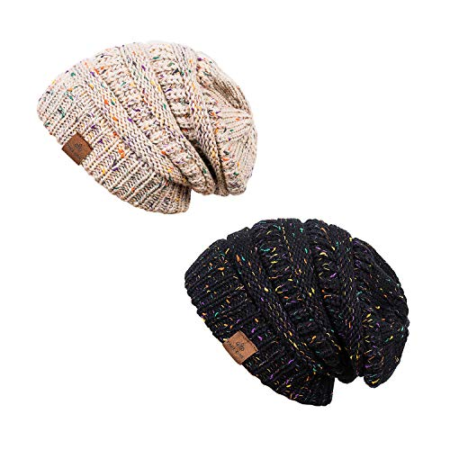 PAGE ONE Winter Warm Trendy Chunky Cable Knit Beanie Hat Women 2 Pack(Black+Oatmeal) -