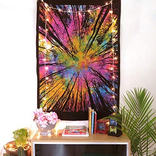 TEXTILLHUB Tie Dye Locust Trees Tapestry Urban Tapestry Tree of Life Forest Tapestry, Wall Hanging Rainbow Tye dye Locust Tree Tapestry Colorful Tapestry Poster 30X40