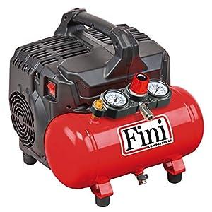 Fini Siltek S/6 Compresor Silencioso 2 Manómetros (59 dB), 6L, 1.0 HP, 8 bar, 750 W, 230 V, rojo