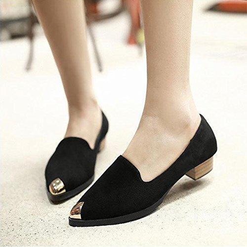 Femme Mode Chaussures Ballerines Pointues Mocassins Métalliques Chaussure Talon Western Élégante Noir 40 undg0