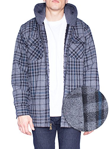 Plaid Hooded Flannel Jacket (Mens Flannel Jacket Zip Up Fleece Hoodie Big & Tall Sherpa Heavy Lined Shirt (3XL,Black / Dark Charcoal))