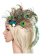 Zivyes 1920s Peacock Headpiece Feather Costume Hair Clip Flapper Headpiece Hat Accessory