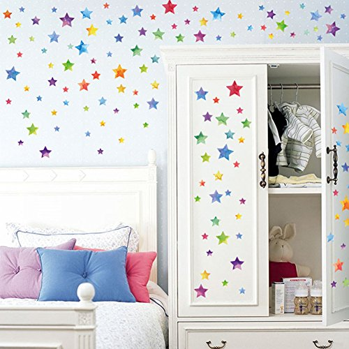 Amao Stars Wall Decals (123 Decals) Wall Stickers Easy to Peel Stick Removable Home Decoration Gift for Baby Kids Nursery Bedroom (Multi-Color Stars)