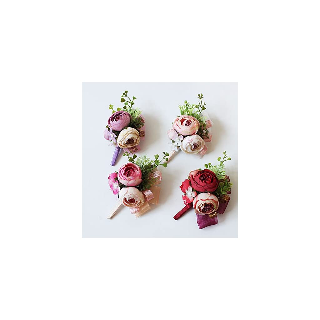 Artificial-Peony-Silk-Flower-Boutonniere-Bouquet-Corsage-Wristlet-Vintage-Silk-Fake-Succulent-Plants-With-Pink-Ribbon-For-Wedding-Decor