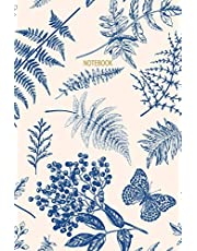 Notebook: Vintage Fern, Butterfly & Floral Pattern | Blue & Cream | Recycled Lined Blank Journal