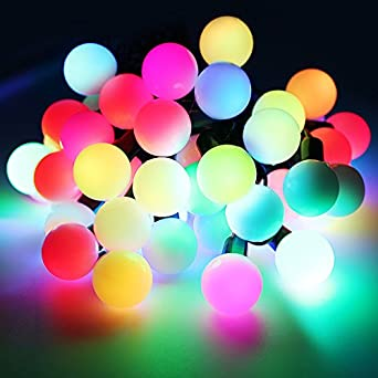 automatic color changing rgb ball led string lights 20ft 50 leds globe ball fairy. Black Bedroom Furniture Sets. Home Design Ideas
