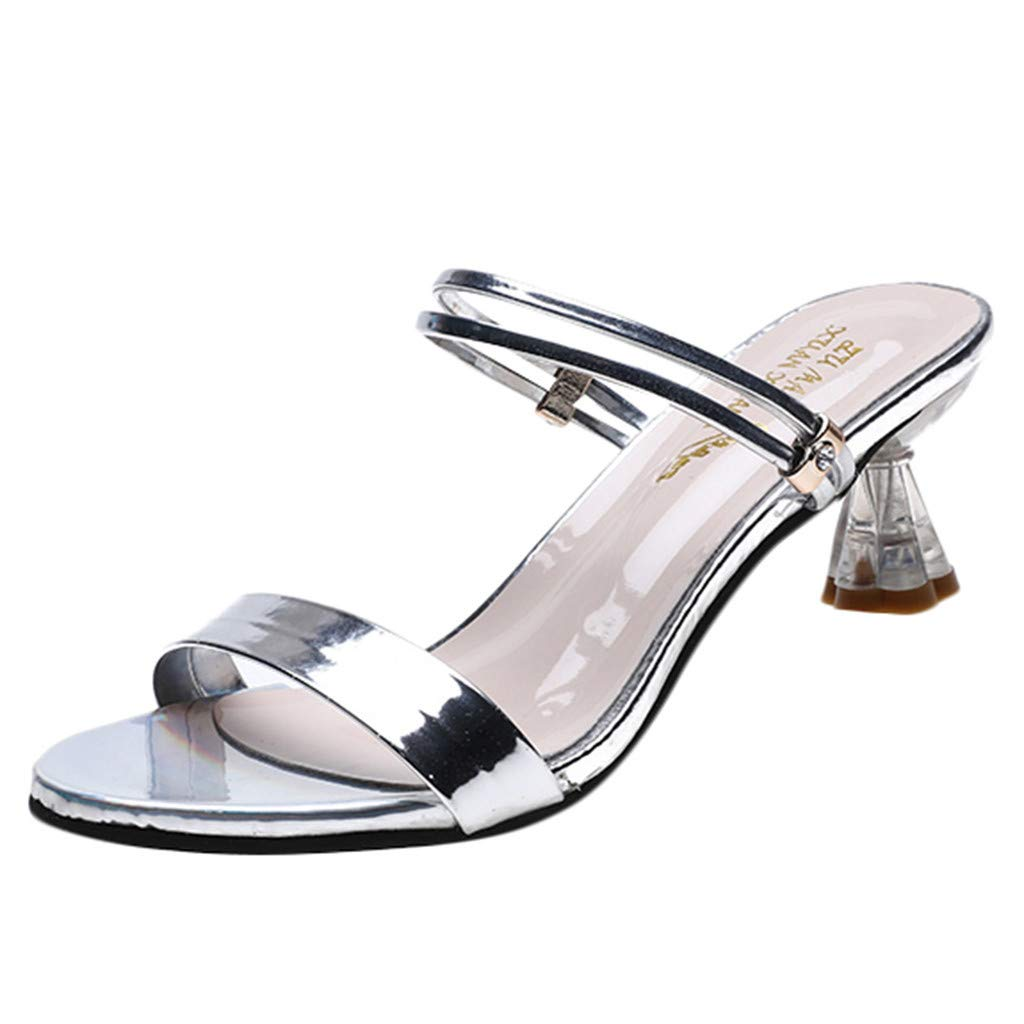 ZOMUSAR New! 2019 Women's Open Toe Sandals Slippers Summer Middle High Heels Chunky Party Shoes Silver