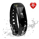LETSCOM Fitness Tracker with Heart Rate Monitor - Smart Wristband Pedometer Bracelet with Call/MSM Reminder, Bluetooth 4.0, Black