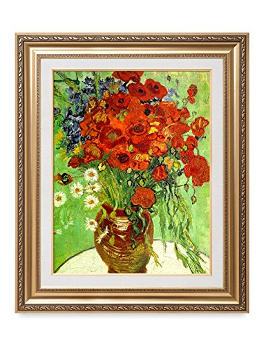 DECORARTS - Red Poppies and Daisies, Vincent Van Gogh Art Reproduction. Giclee Print& Framed Art for Wall Decor. Total with Framed Size: 36x30