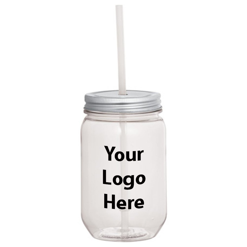 Mason Jar 22 Oz. With Silver Tin Lid - 50 Quantity - $3.45 Each - PROMOTIONAL PRODUCT / BULK / BRANDED with YOUR LOGO / CUSTOMIZED by Sunrise Identity