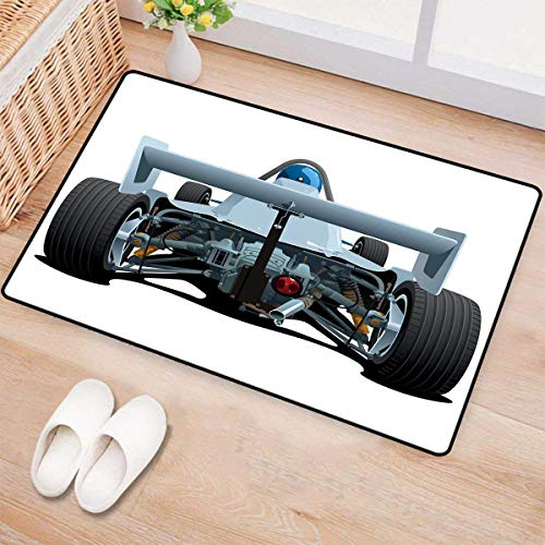 Cars,Bath Mat,Back View of a Formula 1 Race Car Rally Competition Sports Cartoon Style,Door Mat Small Rug,Bluegrey Black White 32
