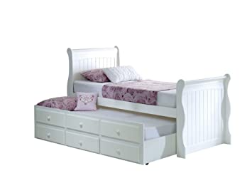 Happy Beds Meadow Guest Bed And Trundle Soft White Wooden Frame Only 3 Single 90