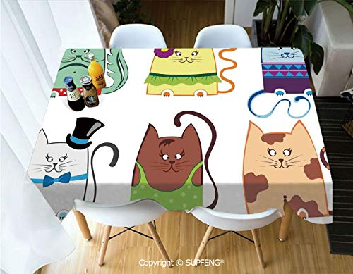 - Vinyl Tablecloth Cute Cat Illustration Series with Different Fashion Styles Females Trendy Pets Little Paws (60 X 84 inch) Great for Buffet Table, Parties, Holiday Dinner, Wedding & More.Desktop Deco