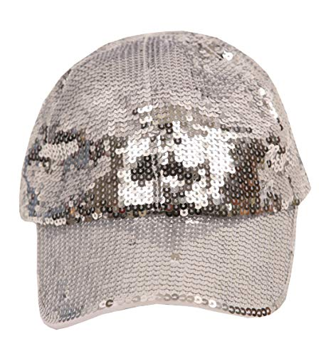 (Women's Fashion Sequined Sparkle Baseball Cap Hat Light Silver)