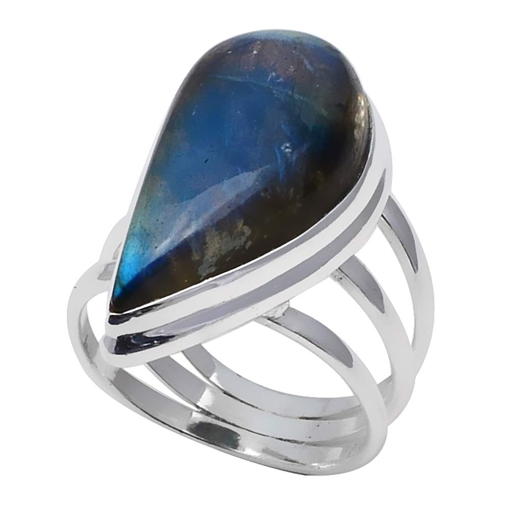 NiaoZaiFei YunZaiKan Genuine Labradorite Ring 925 Sterling Silver,USA Size 7.25 2SR0311