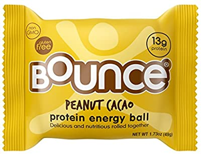 Bounce Peanut Cacao Protein Energy Ball - Whey Protein, Gluten Free, Non-GMO, Vegetarian, On The Go Snack - 1.73 Ounce, 12 count from Bounce USA LLC
