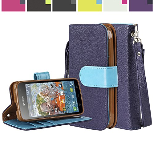 SOJITEK Kyocera Hydro VIBE 4G LTE Premium TwoTone Series Blue Color Leather Wallet Case with Stand / Removable Strap, Card & Money Pockets, ID Window Slots Pouches / Smart Magnetic Reversible Flap