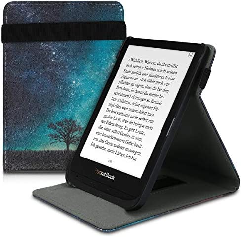 kwmobile Cover Compatible with Pocketbook Touch Lux 4/Lux 5/Touch HD 3/Color (2020) – PU Leather e-Reader Case – Cosmic Nature Blue/Grey/Black