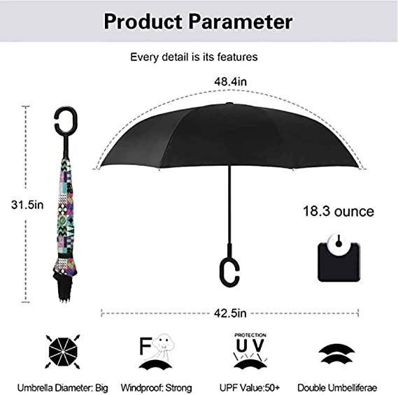 Inverted Umbrella with Mid Century Fish Print Car Reverse Folding Umbrella